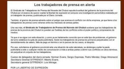 El Sindicato de Prensa se declar� en alerta por el ataque al diario Jornada