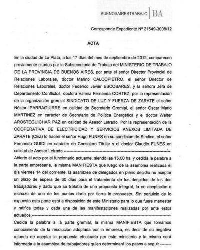 La CEZ rechazó reincorporar a sus trabajadores despedidos
