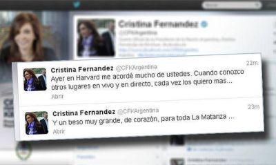 Cristina agradeció la invitación de Harvard y saludó a los habitantes de La Matanza