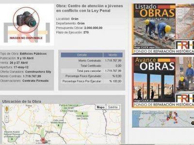 Orán tiene obras que en la web del Fondo no figuran