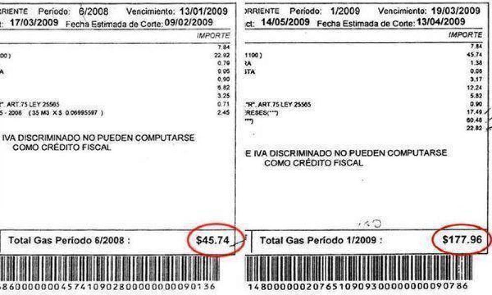 Jubilados reciben boletas del gas con subas del 350%.
