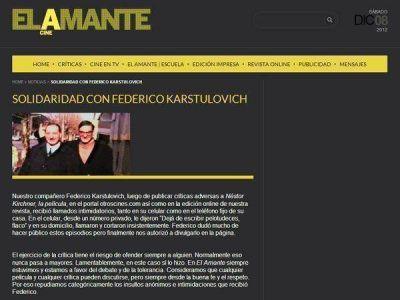 Denuncian amenazas a periodista por su crítica de la película de Néstor Kirchner