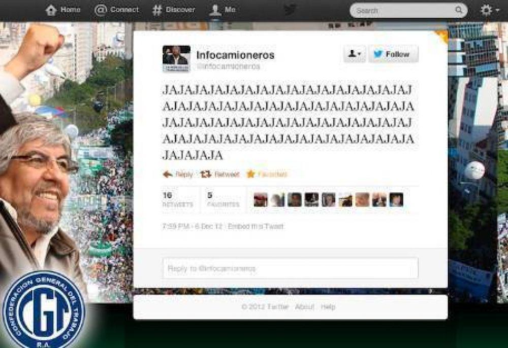 Moyano canceló el Twitter de la web Infocamioneros