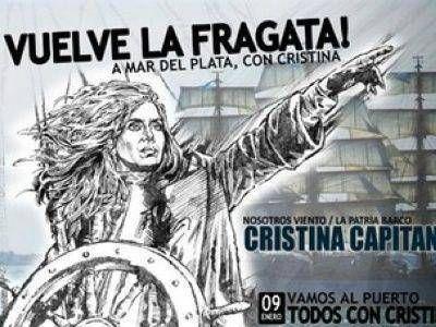 """AFICHE """"CRISTINA CAPITANA"""", PARA RECIBIR A LA FRAGATA LIBERTAD"""