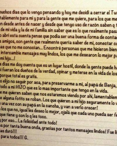 Gianinna Maradona cerró su Twitter una hora antes del nacimiento del hermano y publicó una carta
