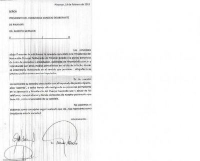 Piden la renuncia de Germain, presidente del Concejo pinamarense