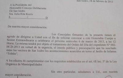 """Se confirmó la sesión extraordinaria por el Jardín """"Tribilín"""" de San Isidro"""