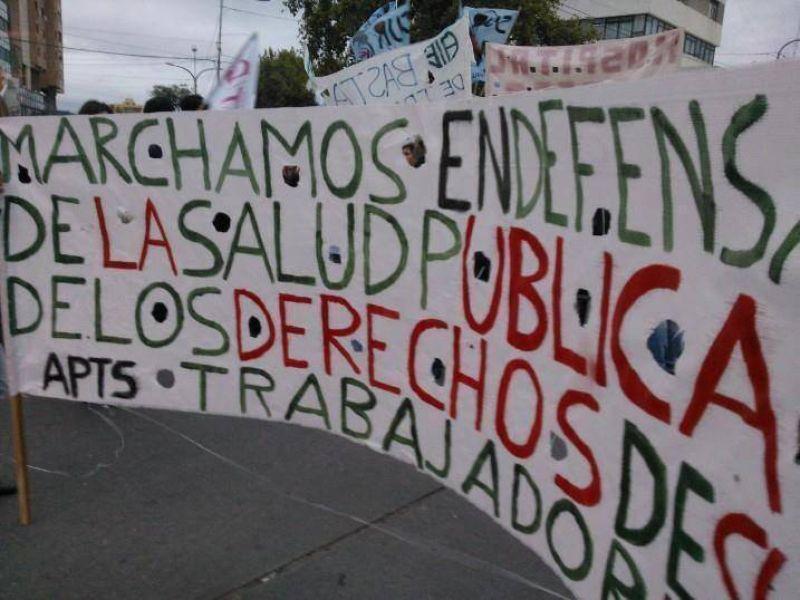 Con una serie de reclamos APTS encabezó una manifestación en el centro de la ciudad