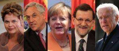 Rousseff, Piñera, Merkel, Rajoy y Biden, en la asunción de Bergoglio