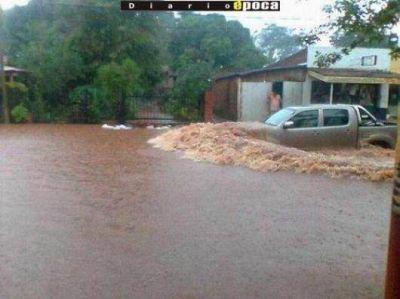 Intensa lluvia azotó Virasoro y dejó 320 familias evacuadas