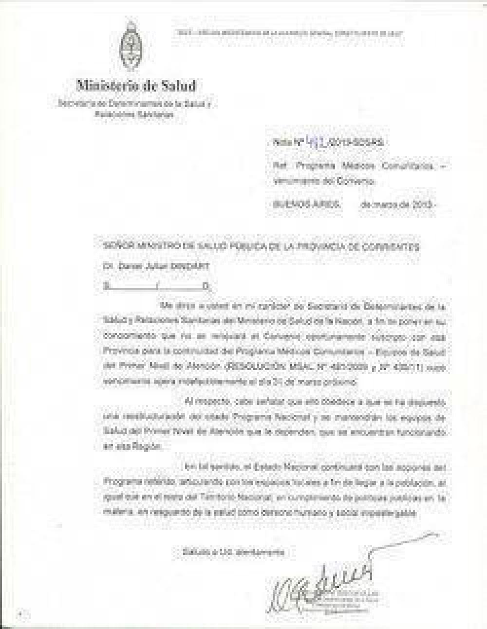 La Nación deja a Corrientes sin 448 médicos comunitarios