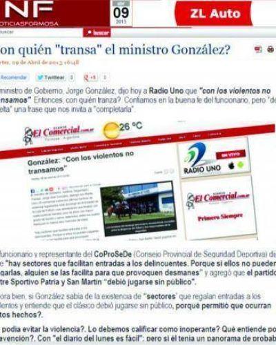 """González aseguró que con los violentos no transa, NF se preguntó ¿Con quién """"transa"""" el ministro?"""