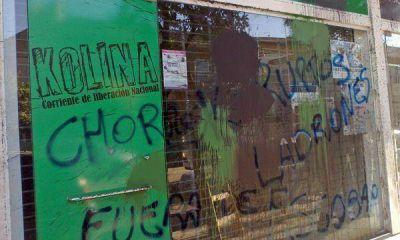 Atacaron un local de Kolina sobre la avenida Tapia de Cruz