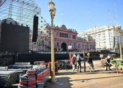 Todo listo para la gran fiesta popular en Plaza de Mayo