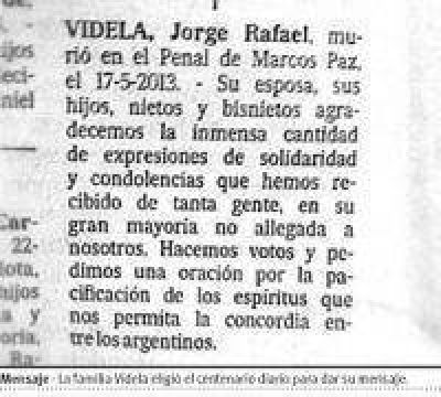 "La familia de Videla reclamó ""concordia"""