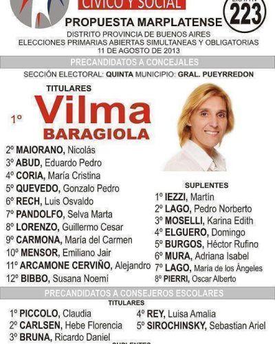 Boleta oficializada de Vilma Baragiola