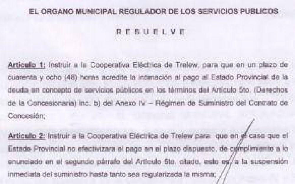 El Omresp Autoriza A La Cooperativa Para Que Corte La Luz A Dependencias Oficiales Si El Gobierno No Paga