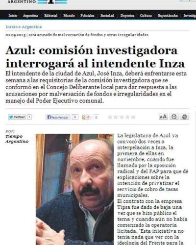 EL DIARIO TIEMPO ARGENTINO SE HIZO ECO DE LA INTERPELACIÓN Y LA COMISIÓN INVESTIGADORA