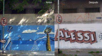 Otra vez, la Comuna denuncia al concejal José Alessi por destruir murales de la ciudad con sus pintadas políticas