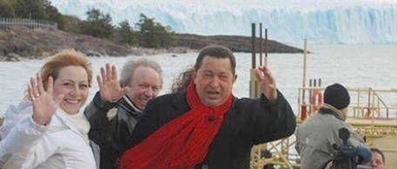Chávez visitó el glaciar sin Néstor ni Cristina Kirchner