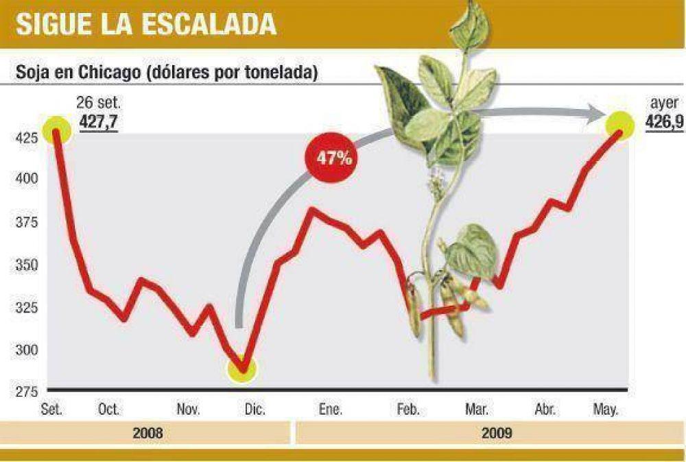 Soja imparable: cerró ayer a u$s 427 y gana 47% en el año