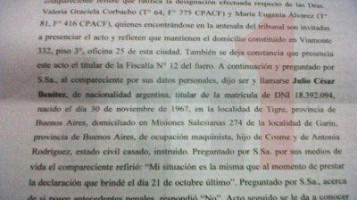 La declaración completa del motorman Julio Benítez