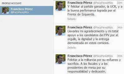 A través de Twitter, Pérez felicitó al radicalismo y a la Izquierda